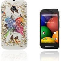 Motorola Moto E Persson Motorola Moto E Cover - Blonder og Farvet Sommerfugl
