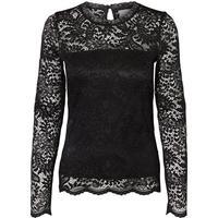 Vero Moda Lace Long Sleeved Blouse Black/Black (10160868)