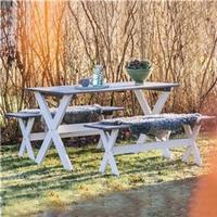 Jabo Bänkbord vit/grå set 2 bänk 1 bord
