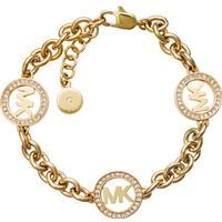 Michael Kors Logo Stainless Steel Gold Plated Bracelet w. Transparent Cubic Zirconium - 18cm (MKJ4729710)