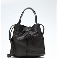 Banana Republic Italian Leather Bow Bucket Bag - Black