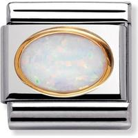 thbaker Nomination Stainless Steel Charm w. White Opal - 0.8cm (030502/07)
