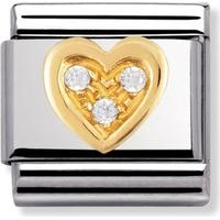 thbaker Nomination Love Heart Stainless Steel/Gold Charm W. White Cubic Zirconium - 0.8cm (030311/11)