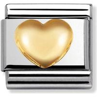 thbaker Nomination Love Raised Heart Stainless Steel/Gold Charm - 0.8cm (030116/01)