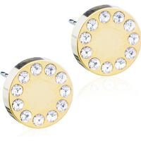 Blomdahl Brilliance Puck Titanium Earrings w. White Crystal - 0.8cm