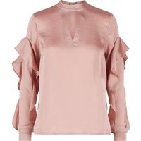 Y.A.S Choker Flounce Long Sleeved Top Beige/Mahogany Rose (26009173)