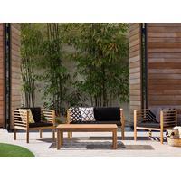 Beliani Utemöbelgrupp ljusbrun - bord + 2 fåtöljer + soffa - PACIFIC
