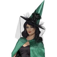 Smiffys Deluxe Witch Hat Teal with Feathers & Netting