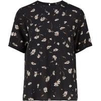 Y.A.S Printet Regular T-shirt Black/Black (26009240)