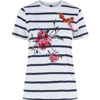 Y.A.S Embroidery Short Sleeved Jersey T-Shit Blue/Snow White (26008611)