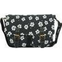 Anna Smith Flower Print Messenger Bag Black -