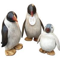 Dcuk Pingvin i bejdset træ, 3 størrelser