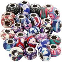 Clay Charm Beads, dia. 11-14 mm, hålstl. 4,5 mm, 30 mix., mixade färger