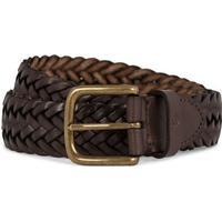 Oscar Jacobson Braided Leather Belt 3,5 cm Dark Brown (105)