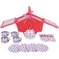 Bigjigs Spotted Basket Tea Set