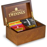 Twinings Deluxe Wooden Tea Box - 2 Compartment Filled