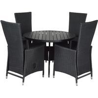 Living Outdoor - Anton Garden Table Ø 150 cm (629990) + 4 Nanna Garden Chair m/pump - Black (629986)