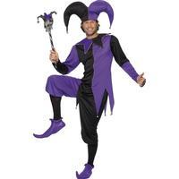 Smiffys Medieval Jester Costume Black & Purple