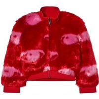 Kenzo Eye Print Faux Fur Bomber Jacka Röd 3 years