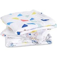Aden + Anais 3-Pack Amningshandduk White och Multicolor Graphic