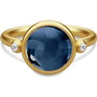Julie Sandlau Prime Ring forgyldt Safirblå krystal og Cubic Zirkonia 48mm (RI95GDSACRCZ)
