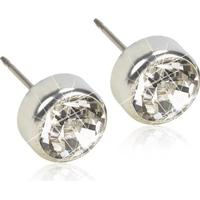 Blomdahl Bezel Silver/Titanium Earrings w. Swarovski/Crystals 0.5cm (15-1402-01)