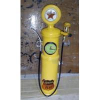 LD-549-3 Vintage 1950's Gasoline gul sparebøsse 43cm i træ