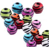 48 st flerfärg zebra pärlor