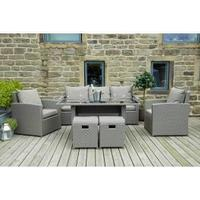Pacific Cayman Mixed Grey Flat Weave Relaxed Rattan Dining Set
