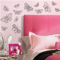 RoomMates Väggdekor Glitter Butterflies