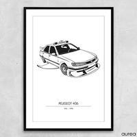 """Plakat - Kendte biler, Peugeot 406 fra """"Taxi"""""""