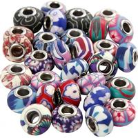 Clay Charm Beads, dia. 11-14 mm, hålstl. 4,5 mm, mixade färger, 30mix.