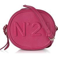 N°21 Fuchsia Leather Oval Crossbody Bag w/Embossed Logo