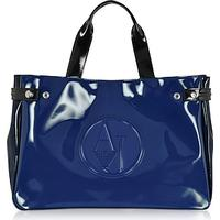 Armani Jeans Large Blue Dark Navy and Black Faux Patent Leather Tote Bag