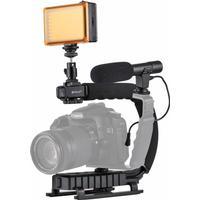 Håndstativ Stabilizer + LED Studio belysning + stativhoved