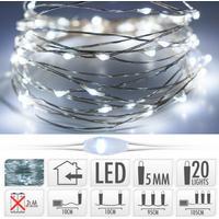 LED batteri lyskæde - 1 m sølvtråd med 20 pærer