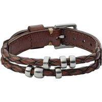 Fossil Retro Pilot Leather/Stainless Steel Bracelet - 26cm (JF02345P)