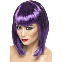 Smiffys Vamp Wig Purple Short with Fringe