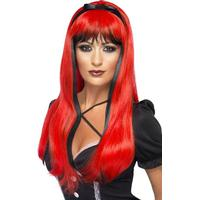 Smiffys Bewitching Wig Red & Black