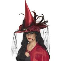 Smiffys Witch Hat Deep Red