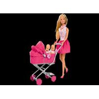 STEFFI LOVE dukke med barnevogn, Lyserød nederdel