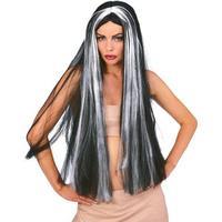 """Rubies 36"""" Grey/Black Streak Witch Wig"""