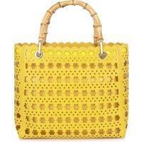 Laura Ashley Yellow Daisy Flower Cutwork Bag