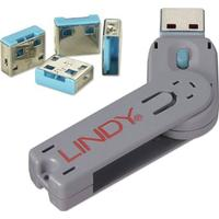 Lindy USB Port Blocker 4P Blue With Key (40452)