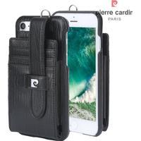 iPhone 8/7 - PIERRE CARDIN ægte læder cover - Sort