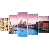 vidaXL Canvastavlor set om 5 Venedig 200 x 100 cm
