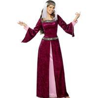 Smiffys Maid Marion Costume Burgundy
