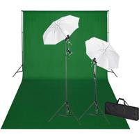 vidaXL Studiosæt m. grønt baggrund 600 x 300 og lamper