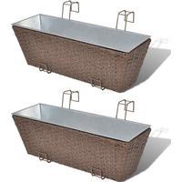 vidaXL Blomlåda för balkong 2-pack konstrotting/zink brun 50cm