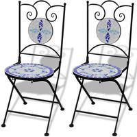 vidaXL Bistro stol mosaik blå / vit 2 st